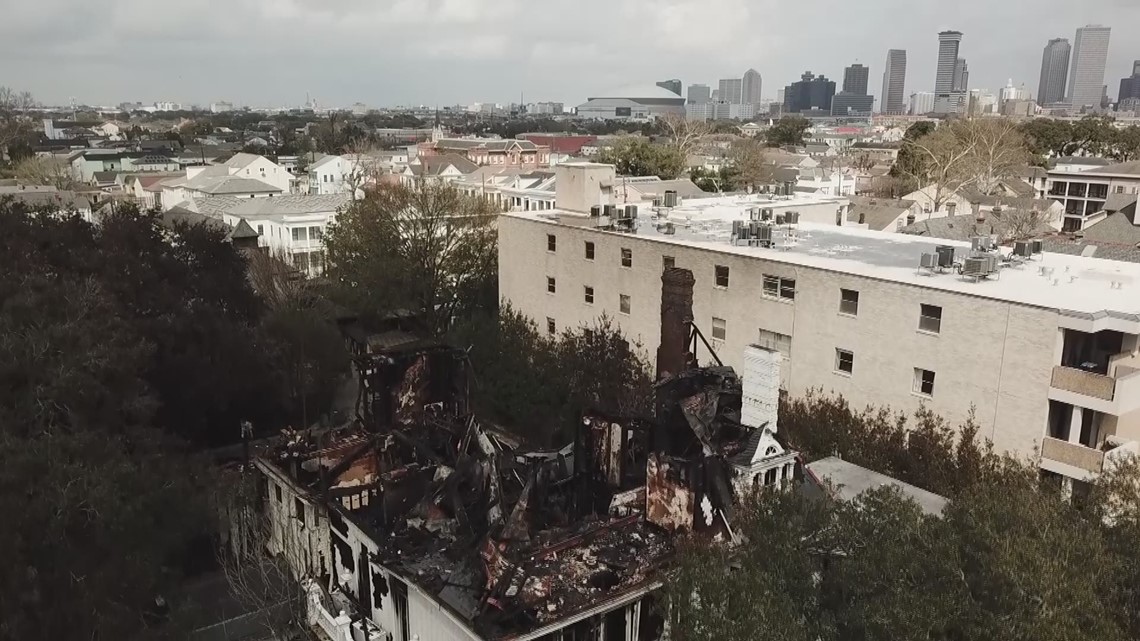 Drone footage shows major damage at St. Charles Ave. mansion