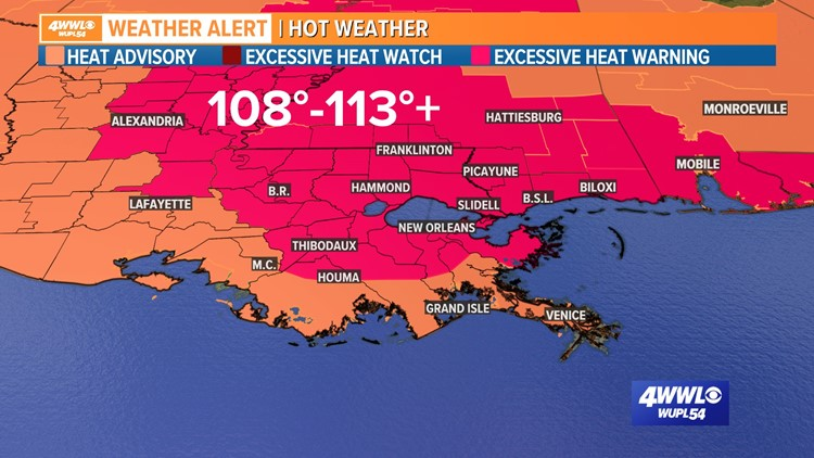'Dangerously hot' 113°F heat index temperatures possible in Louisiana