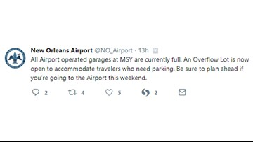 Parking garages full at New Orleans International Airport, officials say