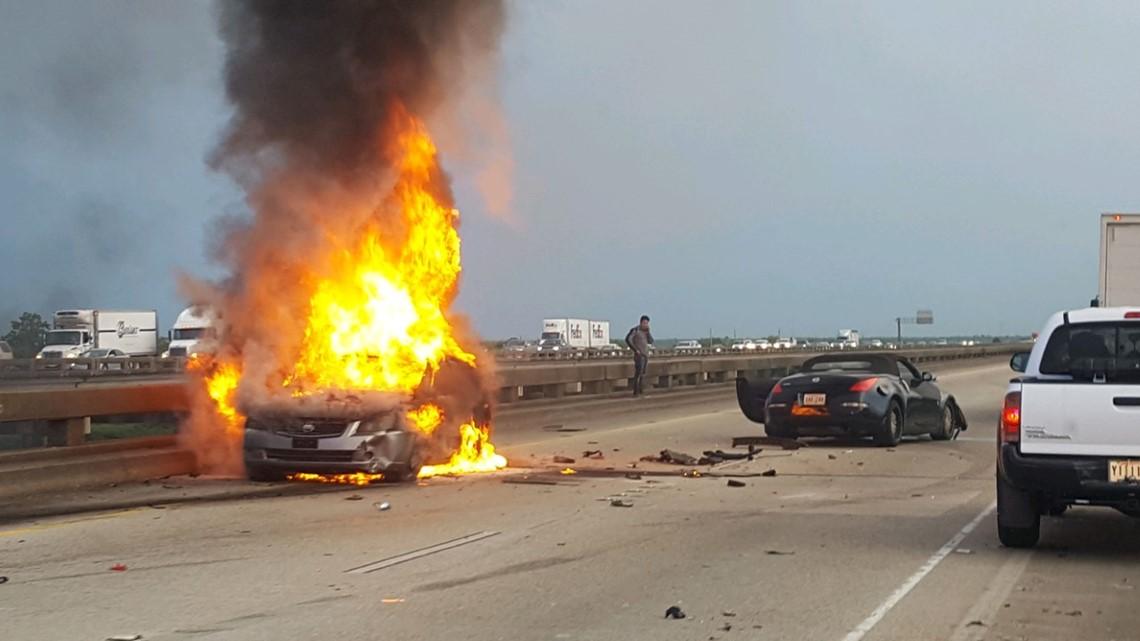 Stolen car abandoned on I-10, causing firey crash