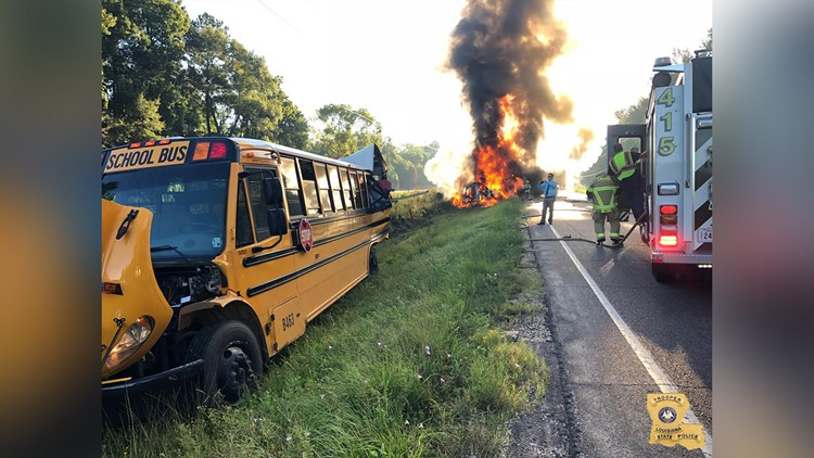 Officials said only three children were on the bus at the time of the wreck, and no one was seriously injured.