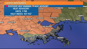 Heat advisory issued for most of Louisiana until 7 p.m. Friday