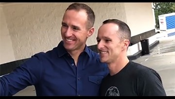 Drew Brees meets lookalike - 'Striking resemblance'