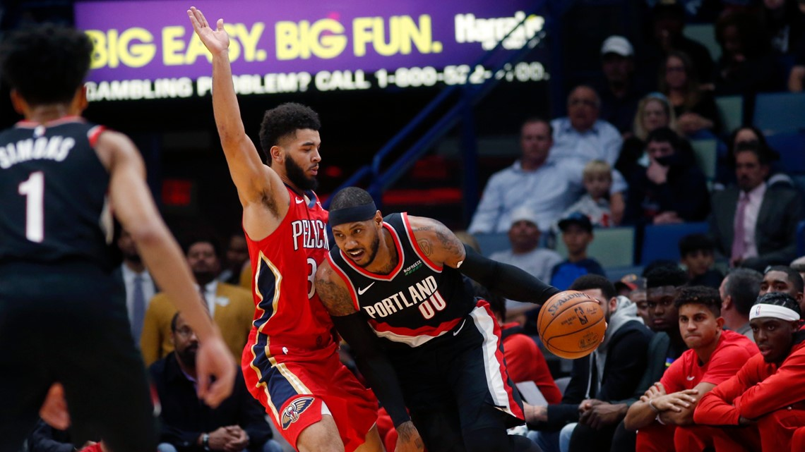 Pelicans spoil Carmelo Anthony's debut, beat Blazers 115-104