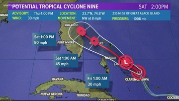 Tropical system could become storm, head toward Bahamas