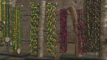 Down the Street: Mardi Gras beads made from recycled magazines