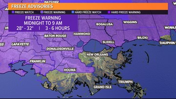 Freeze warning issued for most of southeast Louisiana