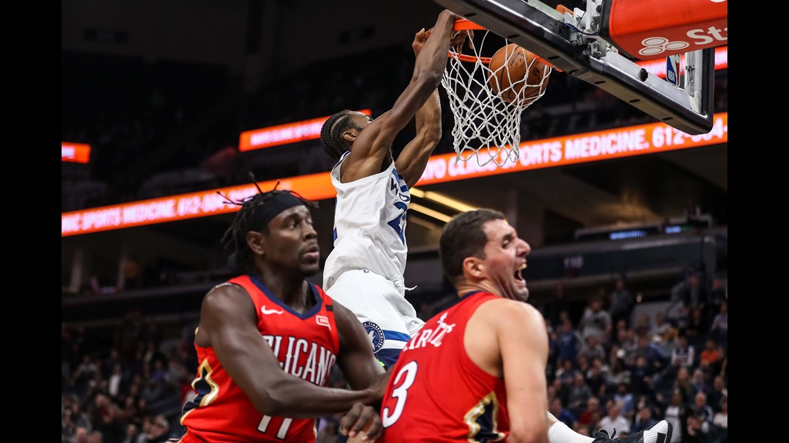Towns, Wiggins shine as Timberwolves top Pelicans 107-100
