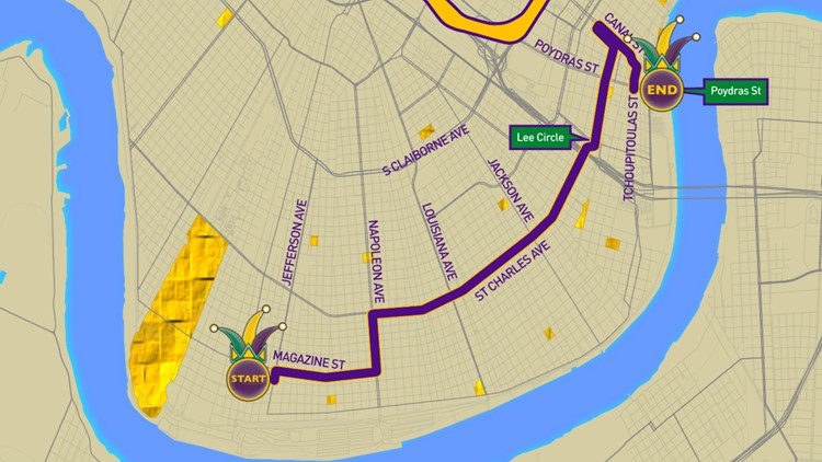 Krewe of Cleopatra 2019 parade route