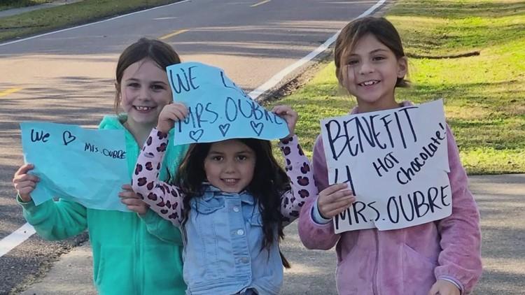 Girls sell hot chocolate to raise money for kindergarten teacher battling cancer again