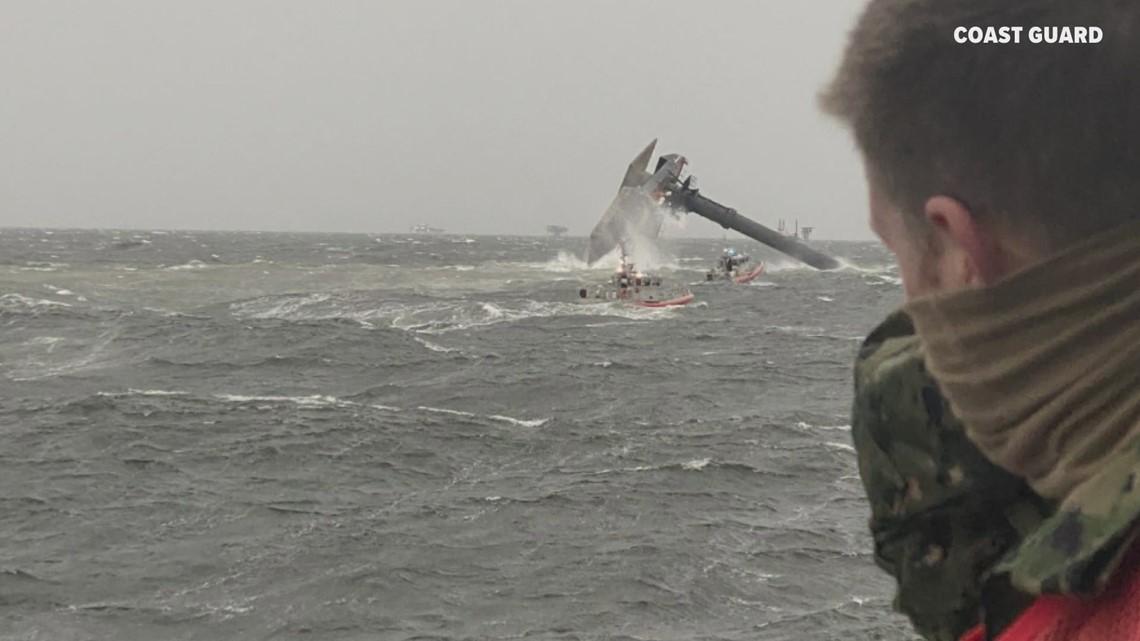At least two crew members may still be inside capsized ship off Louisiana's coast, according to Coast Guard