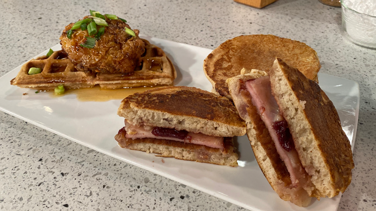 Recipes for National Waffle Day: Chicken & Waffles + Monte Cristo Pancakes