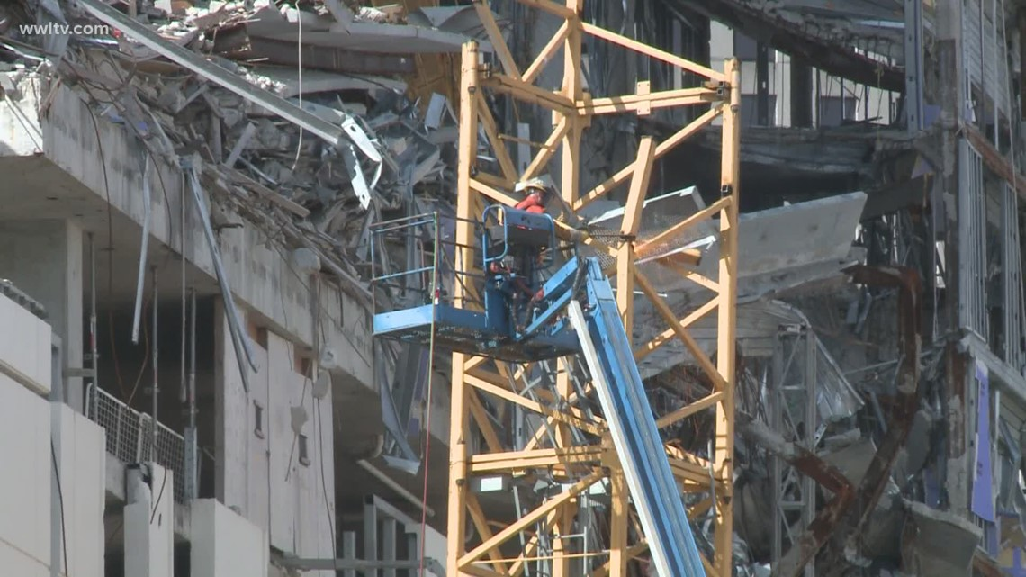 Hard Rock crane cut away as demolition work continues