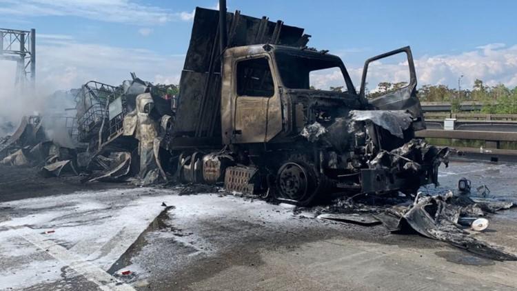 Massive tanker-truck fire shuts down I-10E near LaPlace