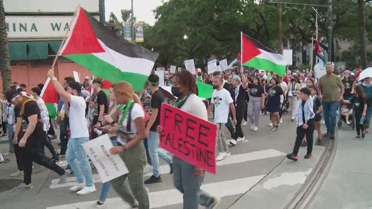 Palestinian solidarity march held in New Orleans after Gaza ceasefire