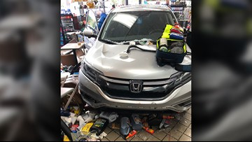 Car crashes through into St. Tammany gas station injuring 6 customers