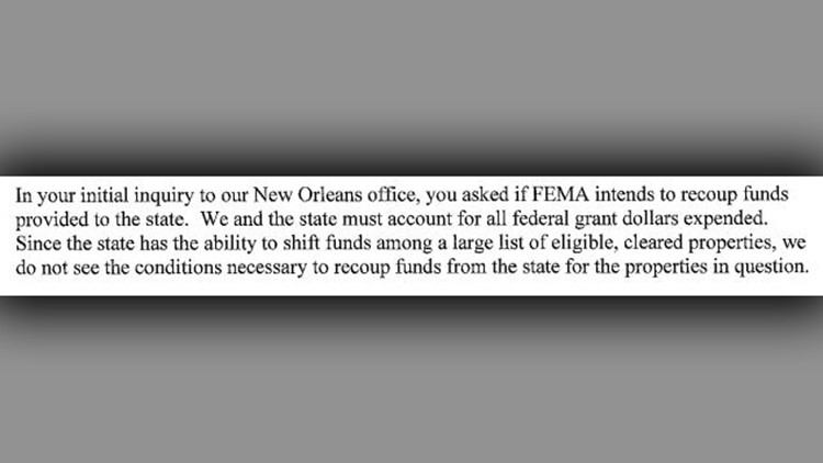 Recoup Funds FEMA letter