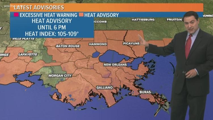 Heat index to be between 105-109°F Today