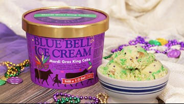 Blue Bell's Mardi Gras King Cake ice cream makes national debut
