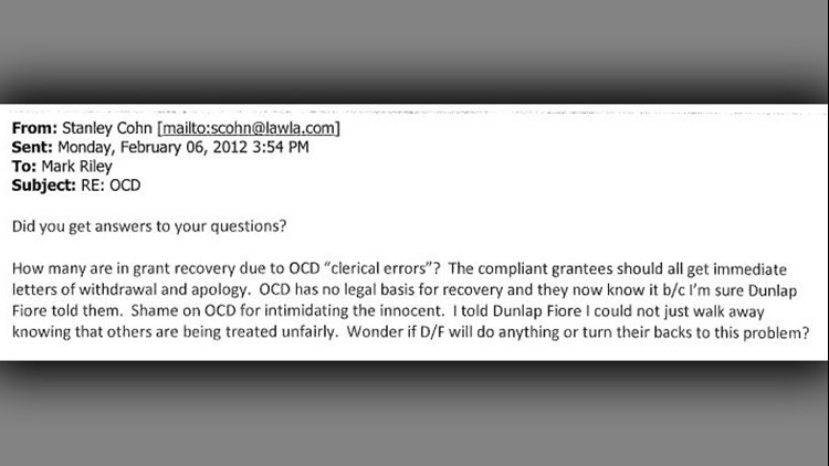 Cohn Email to Mark Riley