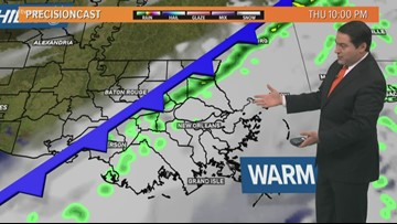 Near record highs, before a cold front Thursday night brings scattered storms
