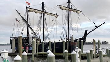 Replicas of Christopher Columbus' Niña and Pinta arrive in Biloxi