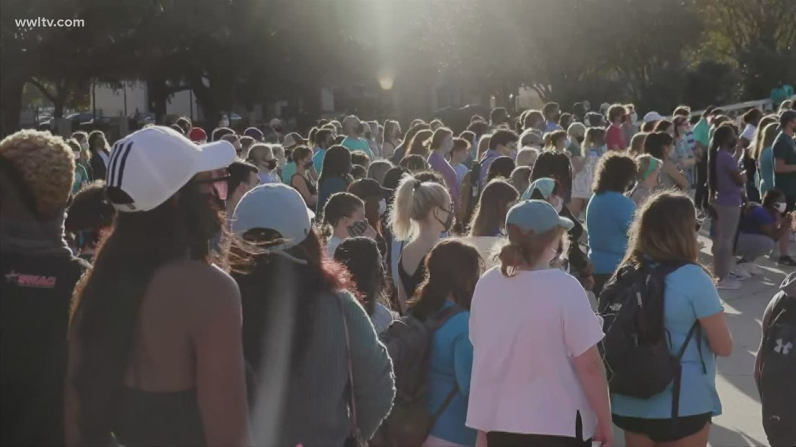 LSU students march in protest against sexual violence