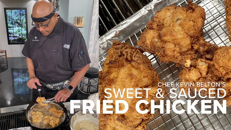 Recipe: Sweet, Spicy Sauced Fried Chicken, Peach Cobbler