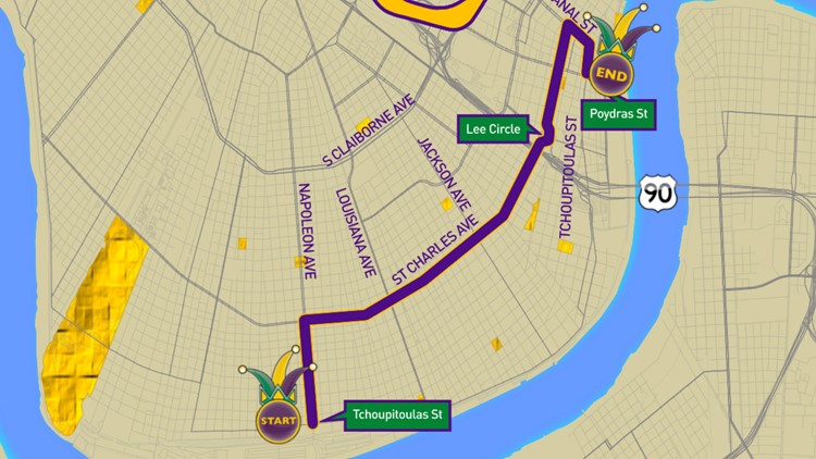 Krewe of Pontchartrain 2020 parade route