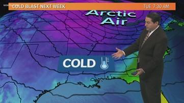 Cold blast will drop temperatures in Louisiana into the 20s