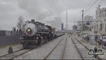 Santa comes to New Orleans on a steam train