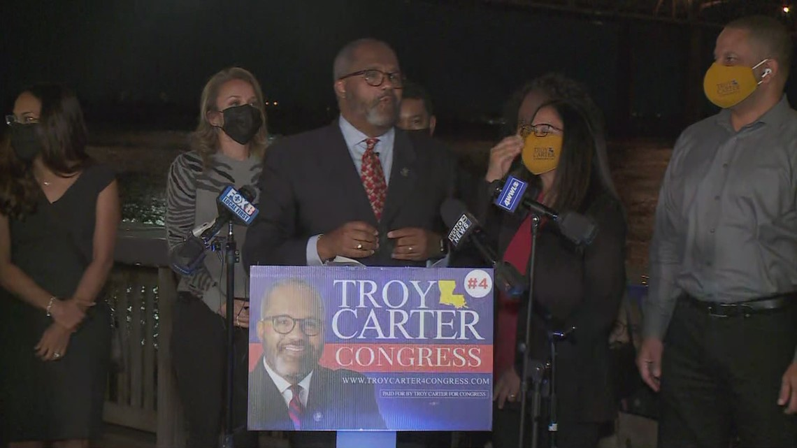 Troy Carter addresses supporters after advancing to runoff election for LA's 2nd Congressional District