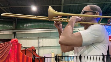 """Giant animated """"Trombone Shorty"""" float debuts in Saturday's Krewe of Freret parade"""