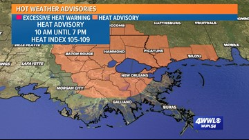 Heat advisory for Southeast Louisiana, Mississippi until 7 p.m.