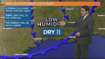 A 'cold' front moves through Monday