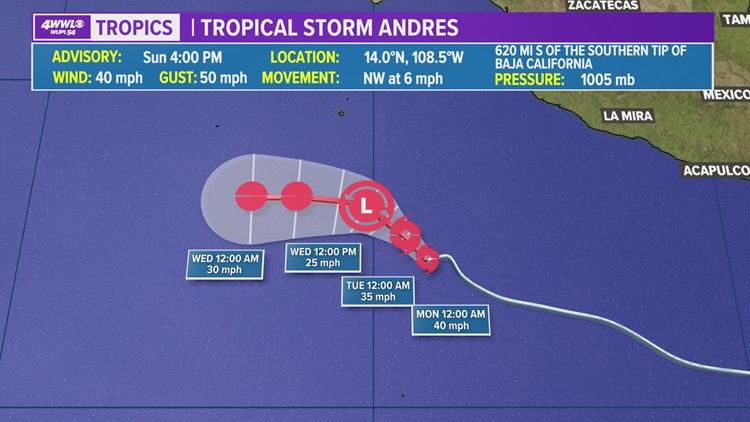 Tropical Storm Andres forms in Eastern Pacific