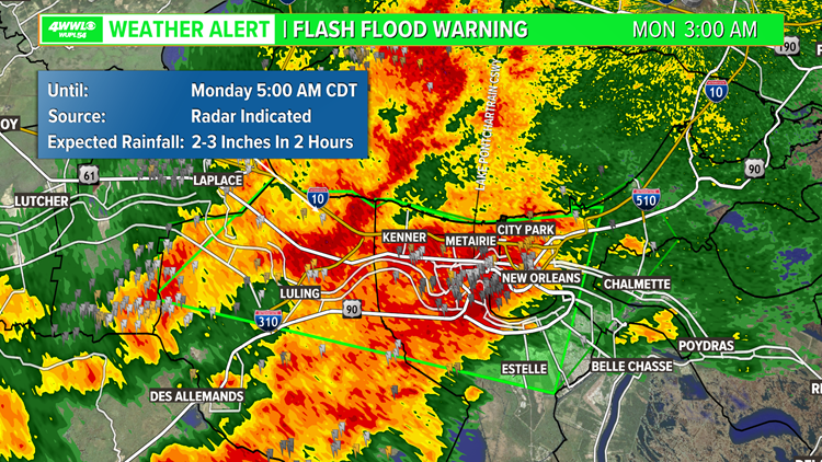 Flash Flood Warning for New Orleans Metro, Flash Flood Watch until Noon