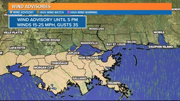 Wind advisory issued for south Louisiana until 5 p.m. Thursday