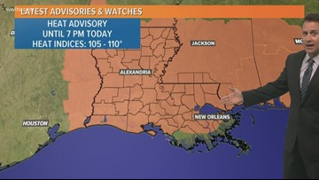 Heat advisory for most of Louisiana, Mississippi Saturday