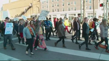 Protesters march from Hard Rock site to city hall