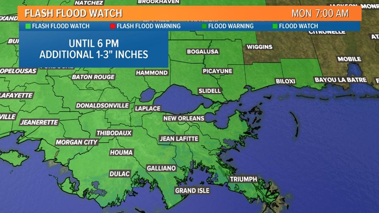 Flash Flood Watch for Southeast Louisiana, Mississippi until 6 p.m.