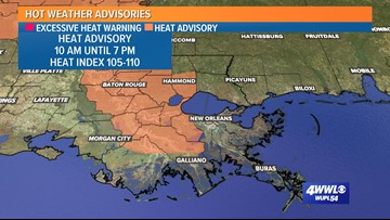 Heat advisory issued for areas west of New Orleans until 7 p.m.
