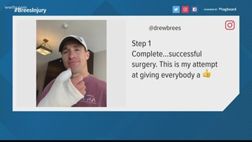 Drew Brees gives thumbs up after hand surgery