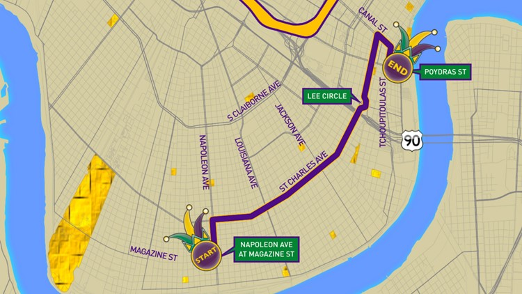 Krewe of Oshun 2020 parade route