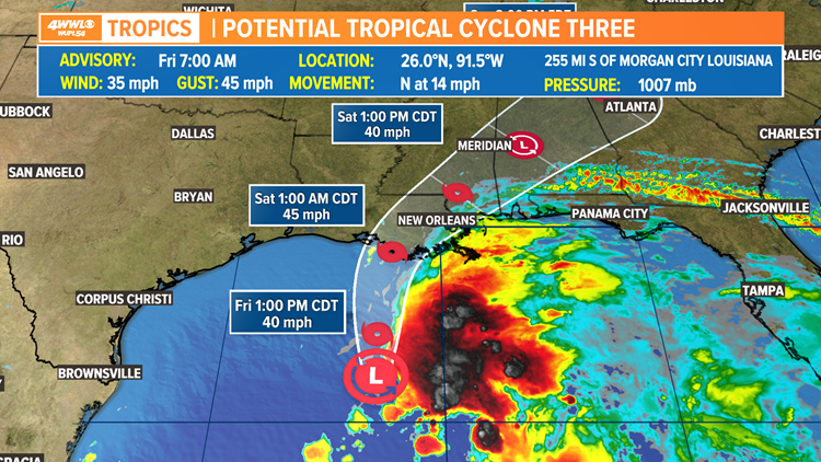 Tropical Storm Warning issued for much of southeast Louisiana