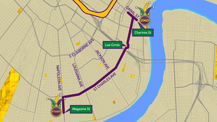 Krewe of Proteus parade route
