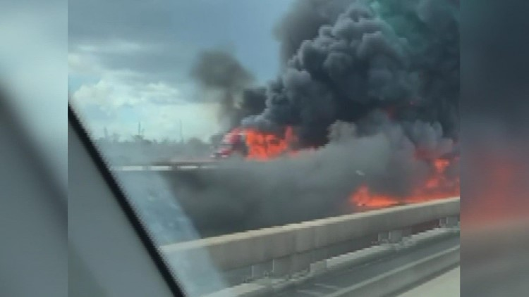 Massive tanker-truck fire shuts down I-10E near I-310