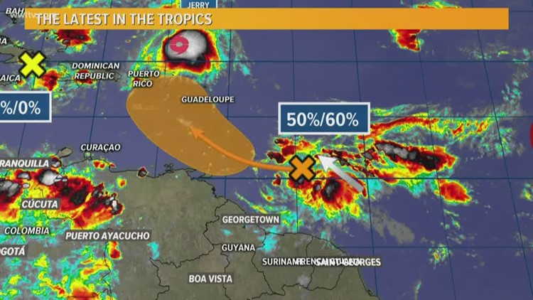 Tropics: Jerry weakens and and Karen could form by next week