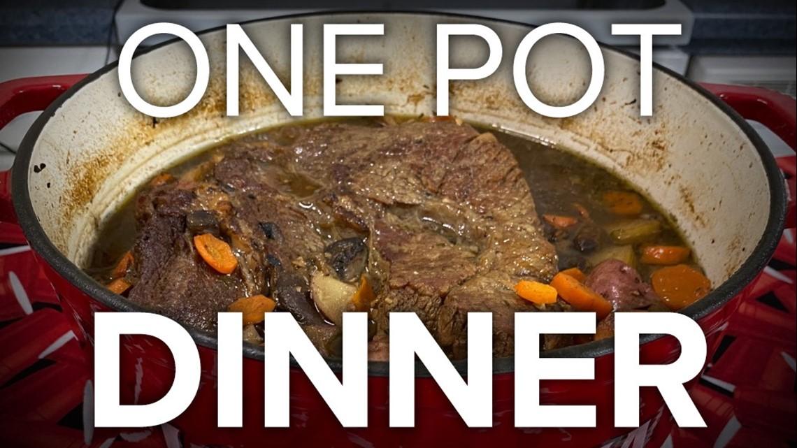 Recipe: Stout & Mushroom Pot Roast with fried asparagus