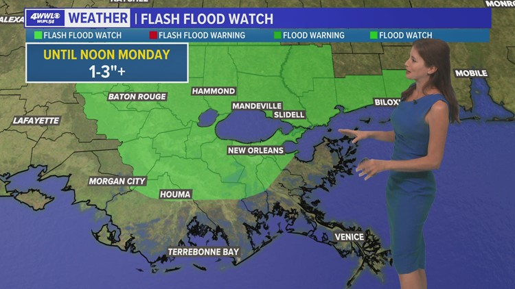 Flash flood watch issued until noon Monday